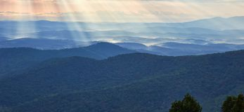 View from Rocky Knob, Virginia. View of the Blue Ridge mountains from near the summit of Rocky Knob, located along the Blue Ridge Parkway south of Roanoke Stock Photography