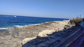 View on the rocky maltese beach. View on the sea Royalty Free Stock Images