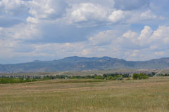 View of Rocky Mountain foothills and Front Range prairie. From Standley Lake Regional Park in Westminster Colorado Stock Images