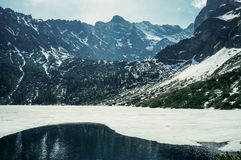 View of rocky mountain peaks with lake on foot with ice on water surface, Morskie Oko, Sea Eye, Tatra National. Park, Poland royalty free stock photos