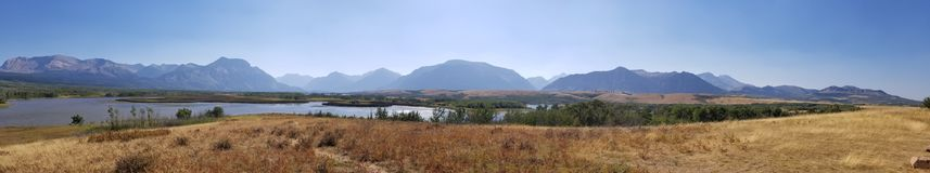 Rock mountain panorama. View or the rocky mountains near glacier national park and Watertown national park Royalty Free Stock Image
