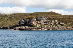 View of rocky outcrop on the southern shore of Sydney Harbour. New South Wales, Australia royalty free stock image
