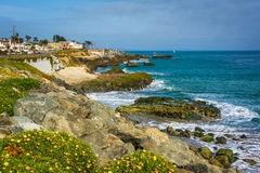 View of the rocky Pacific Coast in Santa Cruz. California stock photos