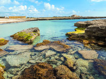 A view of a rocky shore of a Sicily island, Italy Royalty Free Stock Photo