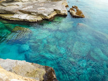 A view of a rocky shore of a Sicily island Royalty Free Stock Photos