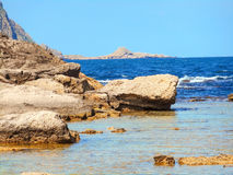 A view of a rocky shore of a Sicily island Stock Photos