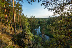 The view from the rocky shores of the Irtysh river, Royalty Free Stock Photo
