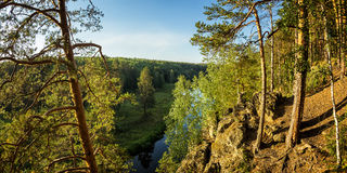 The view from the rocky shores of the Irtysh river, Royalty Free Stock Photos