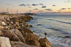 View from the rocky shores of the  Sea Stock Images