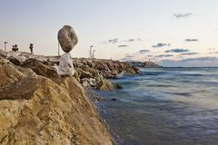 View from the rocky shores of the  Sea Stock Photography