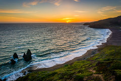 View of Rodeo Beach at sunset  Royalty Free Stock Photo
