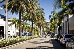 View of Rodeo Drive in Los Angeles. BEVERLY HILLS, USA - JULY 17: View of Rodeo Drive during sunny day. Rodeo Drive of Beverly Hills is a shopping district Stock Photo