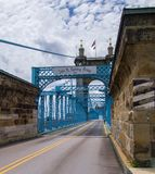 John A. Roebling Bridge. Cincinnati, OH. royalty free stock image