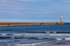 North Sea coast in Sunderland, Tyne and Wear, UK. View from Roker Beach, Sunderland, Tyne and Wear, England, UK Royalty Free Stock Image