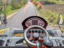 View from the roller as the road is ascending royalty free stock photos