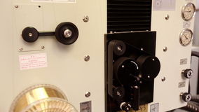 View of rollers and pulley on machine, close-up stock video footage