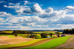 View of rolling hills and farm fields in rural Southern York Cou Stock Image