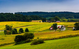 View of rolling hills and farm fields in rural York County, Penn Royalty Free Stock Photo