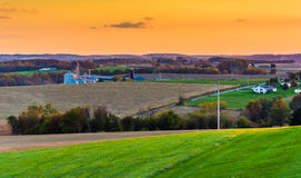 View of rolling hills and farm fields at sunset in rural York Co Stock Images