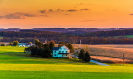 View of rolling hills and farm fields at sunset in rural York Co Stock Photos