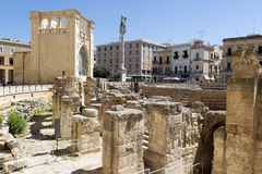 View of Roman Amphitheatre in Lecce, Italy Royalty Free Stock Image