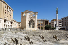 View of Roman Amphitheatre in Lecce Stock Photography