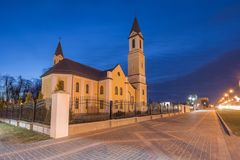 Beautiful church of the parish of the Mother of God at night. View of Roman Catholic church of the parish of the Mother of God at night stock images