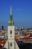 View of Roman Catholic St. Martin's Cathedral and Bratislava city skyline Royalty Free Stock Images
