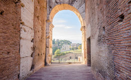 View of the Roman forum through an arch opening Stock Images