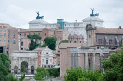 View of the Roman Forum with the background vittoriale Stock Photo