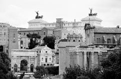 View of the Roman Forum with the background vittoriale Royalty Free Stock Images