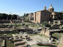 View of the Roman Forum emblem of the city of Rome Royalty Free Stock Images
