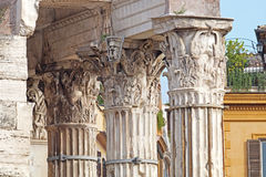View of Roman Forum, focus on the Saturn`s Temple in foreground. Ancient ruins in Rome, Italy. Stock Images