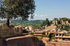 VIEW OF ROMAN FORUM AND HISTORIC HOUSES Stock Photo