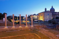 View of the Roman Forum by night Stock Photo