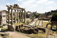 View of Roman Forum ruins. Italy Stock Photos