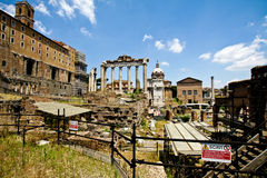 View of Roman Forum ruins. Italy Royalty Free Stock Image