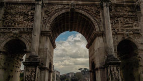 A view at Roman Forum - Septimius Severus Arch. A view at Roman Forum from behind the Septimius Severus Arch Royalty Free Stock Photo