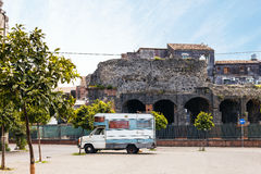 View of Roman Odeon in Catania Royalty Free Stock Photos