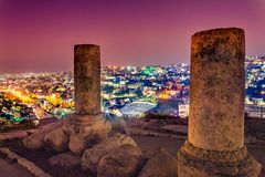 View of the Roman Theater and the city of Amman, Jordan.  royalty free stock photo
