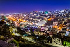 View of the Roman Theater and the city of Amman, Jordan.  stock photo