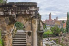 View from Roman Theater, Verona. Ruins of an ancient Roman theater in the city of Verona, Italy Stock Photography
