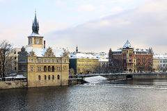 The View on Romantic snowy Prague Old Town, Czech Republic Royalty Free Stock Photo