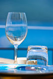 View of romantic table on the sea. stock photo