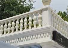 View of the romantic white balcony, terrace with balusters, white stone railing.  royalty free stock photo