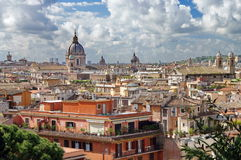 Panorama of Rome, landmark attraction in Italy. Top view over Rome. Beautiful landscape. Beautiful panorama of Rome, landmark attraction in Italy. Landscape with Stock Photos