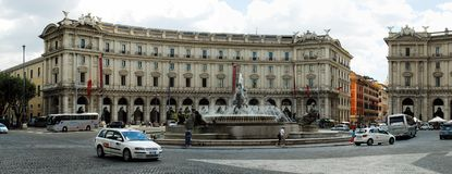 View of Rome city Piazza della Reppublica on June 1, 2014 Royalty Free Stock Photography