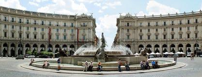 View of Rome city Piazza della Reppublica on June 1, 2014 Stock Photo