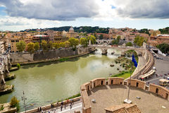 View of Rome cityscape, the Tiber River Stock Photos