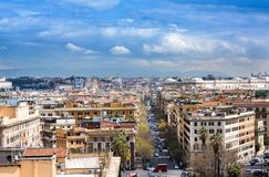 View of Rome cityscape before rain, Italy Stock Image